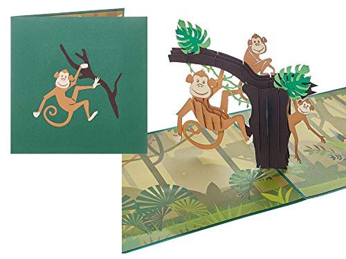 """Rykamia Monkey Pop Up Card, 6x6"""", Blank Monkey Birthday 3D Card, Monkey Card, Monkey Gift, Jungle Card for Kid, Retirement, Just Because, Card For Kids, Toddler Card, Monkey Lover Card"""