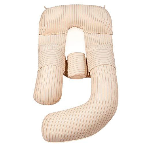 Almohadas Embarazada Maternidad Embarazo con patrón de Rayas Cuerpo de Maternidad Grande en Forma de G con Funda Lavable, para Mujeres Embarazadas
