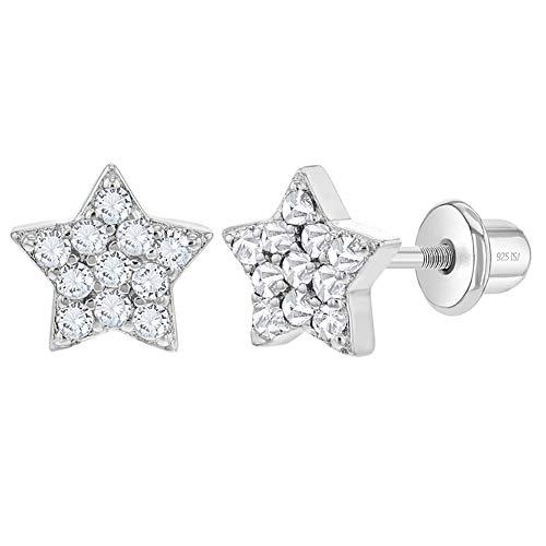 Orecchini a perno a forma di stella in argento Sterling 925, con chiusura a vite, ideali per bambine e bambine e Argento, colore: bianco, cod. SS-03-00378