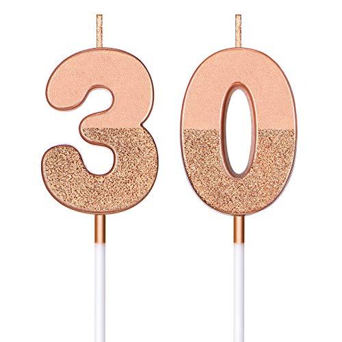 BBTO 30th Birthday Candles Glitter Cake Numeral Candles 30th Birthday Cake Topper Decoration for Birthday Wedding Anniversary Celebration Favor, Rose Gold