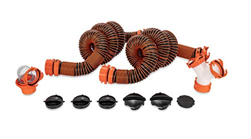 RhinoEXTREME 21056 20-Foot Sewer Hose Kit for RVs with Tandem Holding Tanks - Ready-to-Use Kit - Includes 4-in-1 Adapter, Storage Caps and Swivel Wye Fitting