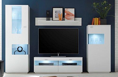 COMO Wohnwand 2 Anbwauwand Wohnzimmer Wohnkombination Weiß supermatt