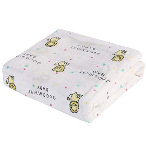 Rehomy 1 manta unisex de muselina para bebé con estampado de animales de dibujos animados, para recién nacidos, manta de recepción suave para niños y niñas, 47 x 47 pulgadas (león)