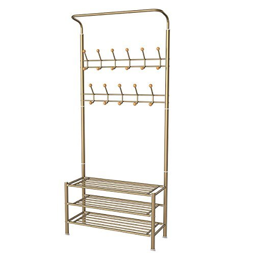 HOMEMAXS Entryway Coat Rack with Storage 3-Tier Shoes Rack, Hat Rack Clothes Garment Rack Including 22 Hooks (Champagne) 33 x 71 x 12 Inch