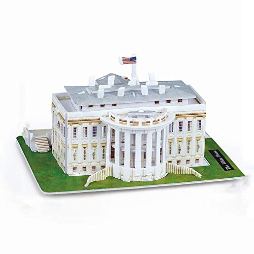 QiKun-Home 3D Stereo Puzzle Mini-Welt Architekturmodell Puzzle Papier Puzzle für Kinder Notre Dame In Paris mehrfarbiges amerikanisches Weißes Haus