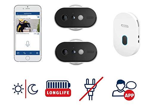 ABUS Akku-Überwachungskamera PPIC90200 2er-Set WLAN HD Kamera für Innen und Außen mit Basisstation - 120 Grad Blickwinkel - kabellos -  weiß - 87915