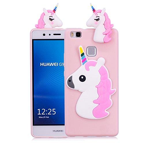 Funluna Funda Huawei P9 Lite, 3D Unicornio Silicona Dibujo Animado Suave Case Cover Protección Cáscara Soft Gel TPU Carcasa para Huawei P9 Lite, Pink