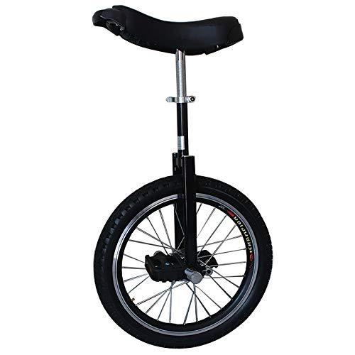 Einrad Einrad für Kinder 16 Zoll, Jungen Mädchen Anfänger Einräder Alter 4/5/6/7 Jahre Alt, Höhe 115-155cm, Außenrad mit Kleinem Rad und Verstellbarem Sattel (Color : Black)