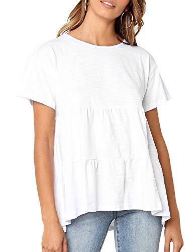 Playera de verano para mujer, manga corta, holgada, dobladillo bajo, peplum - Blanco - XL