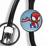 Stethoskop-Anhänger Spiderman und Captain America, personalisierbar, für Krankenschwester, Arzt, Stethoskop, Namensschild