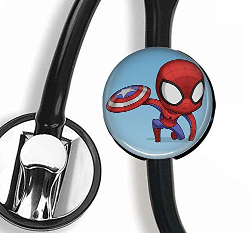 Personalisierbares Stethoskop-Etikett mit Spiderman- und Captain America-Motiv, Krankenschwester, Arzt, Stethoskop, Namensschild