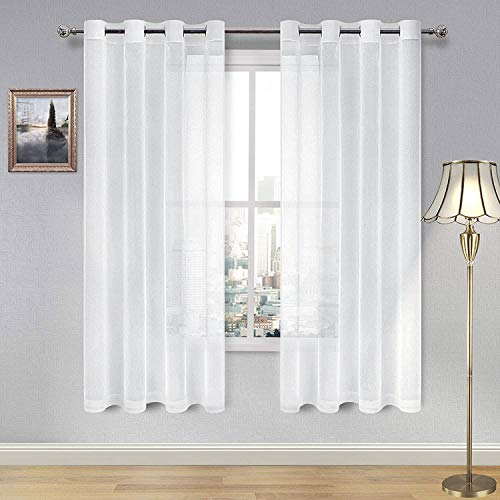 DWCN White Sheer Curtains for Living Room Linen Look Voile Drapes Grommet Window Curtain Panel 52 x 63 Inch Long, Set of 2 Panels Georgia