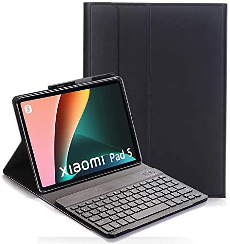 YHFZR Funda Teclado Español Ñ para Xiaomi Mi Pad 5/5 Pro, Español Ultra Slim Teclado Keyboard Case con Magnético Desmontable Inalámbrico Bluetooth para Xiaomi Mi Pad 5/5 Pro 11 Pulgada, Negro