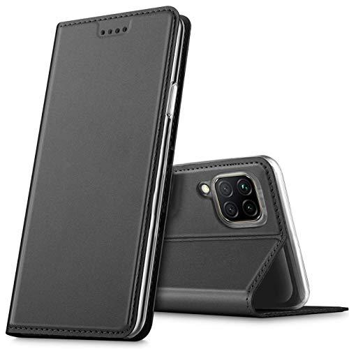 Verco Handyhülle für Huawei P40 Lite, Premium Handy Flip Cover für Huawei P40 Lite Hülle [integr. Magnet] Book Hülle PU Leder Tasche, Schwarz