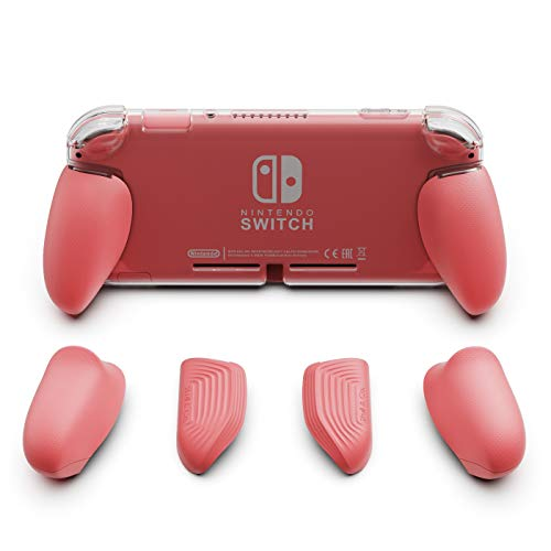 Skull & Co. GripCase Lite: A Comfortable Protective Case with Replaceable Grips [to fit All Hands Sizes] for Nintendo Switch Lite [No Carrying Case]- Coral