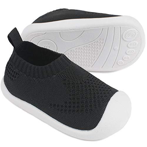 Bebé Primeros Pasos Zapatos 21 Niños Zapatos Niños Niñas Infante Suave Suela Antideslizante Lona TranspirableLigero TPR Material Slip-on Zapatillas Deportivas Outdoor para 1-4 años Bebé Negro