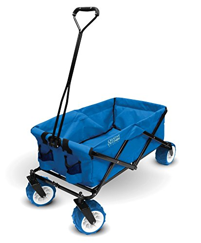 Creative Outdoor Collapsible Folding Wagon Cart for Kids and Pets | All Terrain | Beach Park Garden Sports & Camping (Cool Blue)