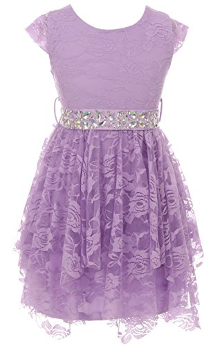 Big Girl Short Sleeve Floral Lace Ruffles Easter Summer Flower Girl Dress Lavender 14 JKS 2095