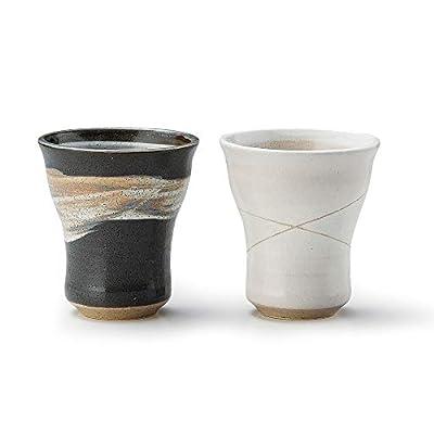 AWASAKA Japanese Tea Cups MINOYAK Ceramic Set, Hand-drawn Patterns, Dishwasher Safe for Hot Cold Drinks (Set of 2)