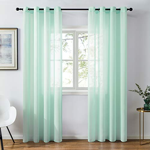 Topfinel Chiffon Sheer Curtains 84 Inches Long for Bedroom Living Room Grommet Window Curtains, Mint Green, 2 Panels