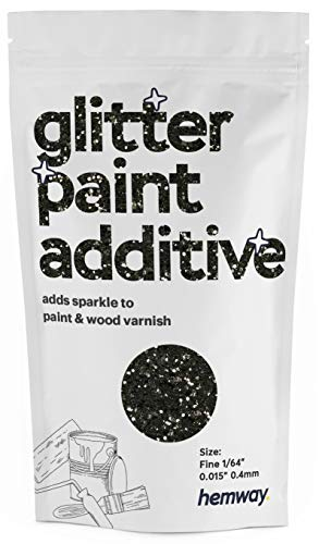 """Hemway Glitter Paint Additive FINE 1/64"""" 0.4mm Emulsion/Acrylic Water Based Paints Wall Ceiling 100g / 3.5oz (Black)"""