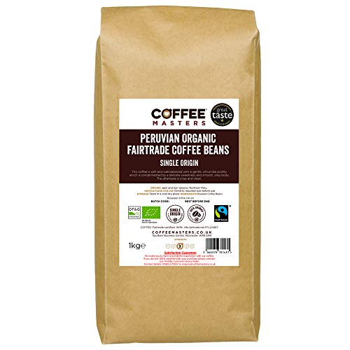Coffee Masters Peruvian Coffee Beans 1kg - Organic Fairtrade Single Origin Arabica Coffee Beans Roasted in The UK - Ideal for Espresso Machines - Great Taste Award Winner 2018
