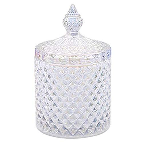 boogift Glas Candy Dish mit Deckel Bonboniere Vorratsgläser klein Vorratsglas/Glasbehälter mit Deckel aus Glas Klein für Bonboniere, Naschen, Kekse (14x8)
