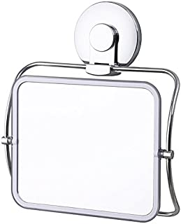 TAILI Shower Mirror Suction NO-Drilling & Removable Makeup Mirror Shatter-Proof & Rust-Resistant 360° Rotating Hanging Shower Mirror for Bathroom Vanity Countertop Traveling Business Trip - Chrome
