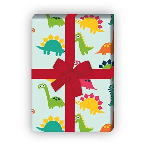 Kartenkaufrausch Buntes Comic Dinosaurier Geburtstag Geschenkpapier Set, Dekorpapier Musterpapier, Designpapier zum Einpacken, basteln, 4 Bögen, 32 x 48cm, auf hellblau