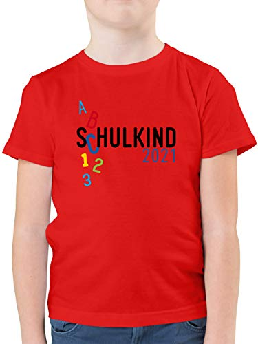 Einschulung und Schulanfang - Schulkind 2021 ABC blau - 128 (7/8 Jahre) - Rot - Tshirt Schulkind 2018 Junge - F130K - Kinder Tshirts und T-Shirt für Jungen