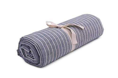 HomeLife - Telo Arredo Copridivano a Righe Maxi [280X360] Made in Italy – Lenzuolo Copritutto Multiuso in Cotone Extra Large – Granfoulard Copriletto Estivo Grande – [Maxi, Blu]