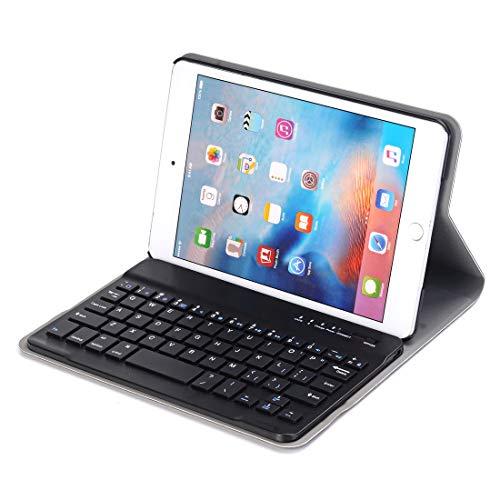 WuqiAng Bluetooth Keyboard Case, Bluetooth Keyboard For IPad Mini 4 Ultra-thin ABS Bluetooth Keyboard Horizontal Flip Leather Case With Holder,Bluetooth Keyboard Case (Color : Black)