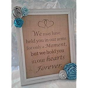 Baby Boy Loss of Infant Memorial Keepsake Sympathy Gift Rustic Framed Burlap Artwork with Flowers