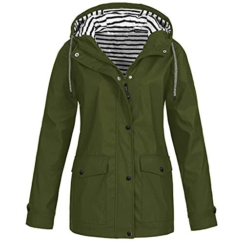 NAQUSHA Abrigo de primavera para mujer, impermeable, con capucha, resistente al viento, con capucha Brazalete verde. 5X-Large