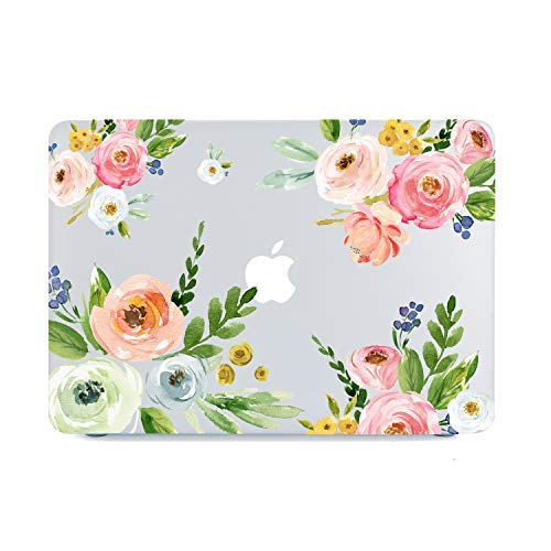 Lapac MacBook Air 13 Inch Floral Clear Case 2020 2019 2018 Release A1932 A2179, Pink White Blue Flower Soft Touch Hard Shell Case & Retina Display Fits Touch ID with Keyboard Cover, Watercolor Rose