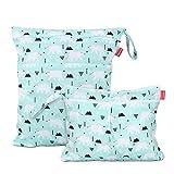 Damero 2 Stück windeltasche wetbag wiederverwendbar, Nasstaschen für Unterwegs, Wetbag windelbeutel für Babys Windeln, schmutzige Kleidung und anderes Zubehör, (Groß + Klein, Bär)