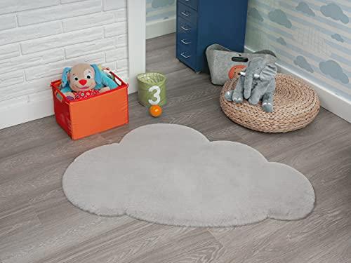 Lina Shape - Alfombra infantil de pelo largo, diseño de nube, muy suave, piel sintética, mullida, aspecto de piel, lavable hasta 30 grados, color gris, 80 x 120 cm