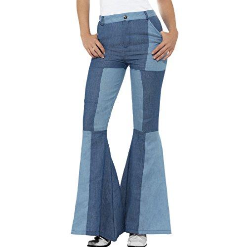 NET TOYS Pantalones de Pata de Elefante Patchwork - S (ES 36/38) | Pantalones de Campana Estilo Jeans | Pantalones Acampanados Estilo Vaquero | Fiesta Temática Hippy
