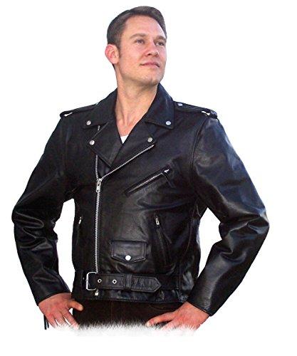 Fuente Leather Wears Brando Lederjacke Herren Leder Vintage, Motorad, Biker, Western Lederjacke, Rind-Mild Schwarz (XL)