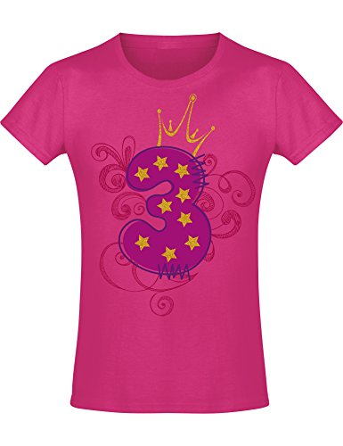 Mädchen Geburtstags T-Shirt: 3 Jahre mit Krone - DREI Dritter Geburtstag Kind-er - Geschenk-Idee - Prinzessin Princess - Glitzer Pink Rosa - Niedlich - Kindergeburtstag - Jahrgang 2018 (104)