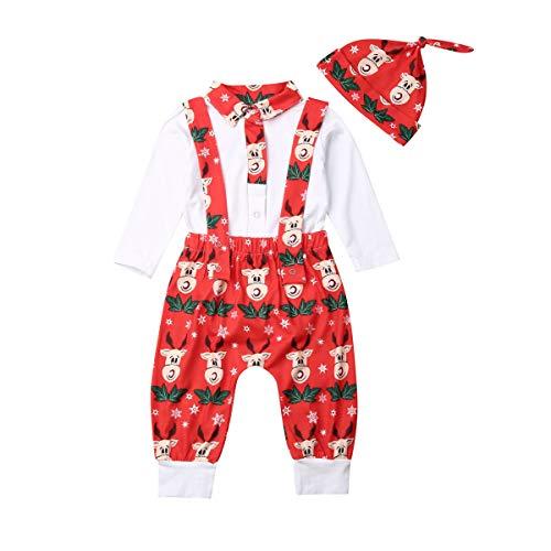 Weihnachten Baby Gentleman Junge Kleidung Outfits Button Down Top Shirt Stehkragen Langarm Babybody Hirsch Druck Strap Hose mit Hut Baby Bekleidungsset 3Pcs (Rot, 6-12 Monate)