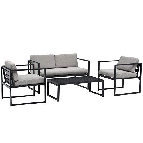 Outsunny Set Mobili da Giardino con Divano 2 Posti, 2 Poltrone e Tavolino in Alluminio con Cuscini, Grigio e Nero