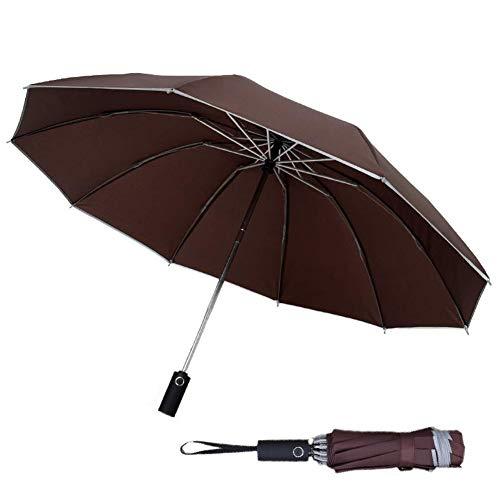Regenschirm Sturmfest Taschenschirm mit 10 Rippen und Nachtreflektierende Streifen Auf-Zu-Automatik Sturmfest Windfest Stabil Winddicht 190T Teflon Schirm(Kaffee-Farbe)