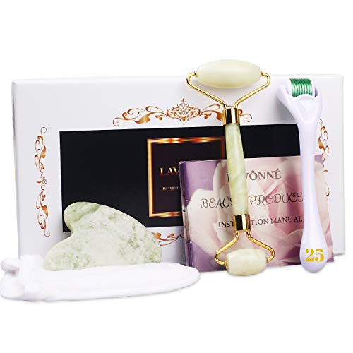 LAVÔNNÉ【4 In 1】Authentic Jade Roller & Gua Sha + Derma Roller Massager +Cleaning Pad Reusable.Instant Facial Tightening/Lifting/Depuffing/Anti Wrinkle/Bags/Spots. Eye/Face Roller Set.Beauty Gift Set.