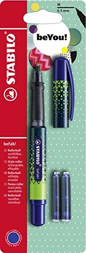 Tintenroller - STABILO beFab! URBAN SPORTIVE in blau - Einzelstift - inkl. 3 Patronen
