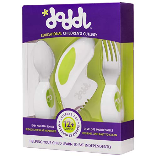 Children's Cutlery for Toddlers & Babies 1 to 5+ Years, 3 Piece Knife, Fork & Spoon, Easy Grip and Ergonomically Designed for Self-Feeding (Lime Green)