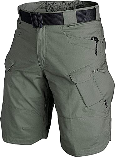 MBVBN Men Cargo Shorts Loose Fit Waterproof Quick Dry Tactical Bike Shorts for Men Outdoor Hiking Fishing Camping Green 5XL