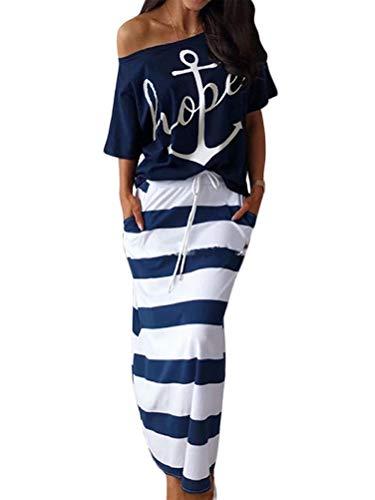 ORANDESIGNE Damen Mode 2 Stück Set Outfits Anker Drucken Trägerlos T-Shirt Kurzarm + Gestreifter Rock Elegante Zweiteilige Maxikleid Partykleid Strandkleid Beiläufig Bekleidung B Blau M