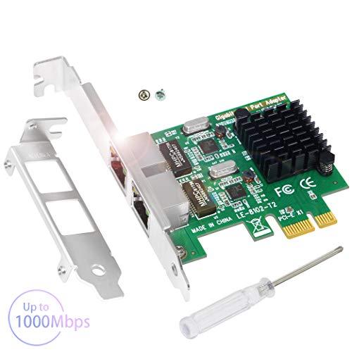 Ubit Netzwerkkarte | Gigabit-Ethernet mit Kühlkörpertechnologie | 2-Port-PCIe-Netzwerkcontrollerkarte | 10/100/1000 Mbit/s RJ45-LAN-Adapter für PC | Kompatibel mit Windows 10/8.1/8/7/Vista/XP