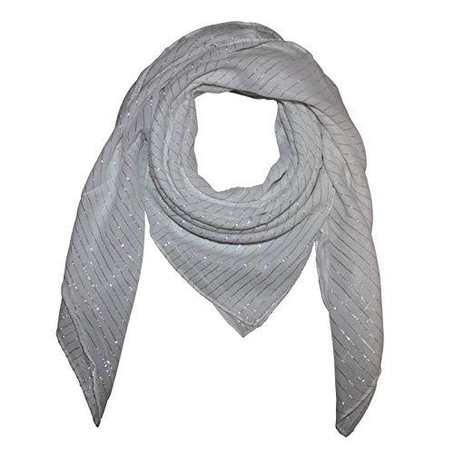 Superfreak Baumwolltuch - weiß Lurex Silber - quadratisches Tuch